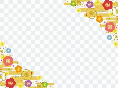Colorful plum flower frame ♡ No.2