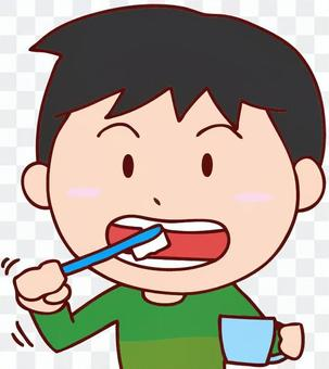 Illustration of a boy brushing a tooth