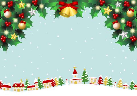 聖誕節多雪的城市景觀藍色背景水平