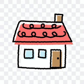 紅色屋頂鬆散的房子