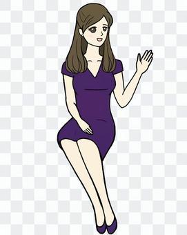 Woman sitting · calling · purple