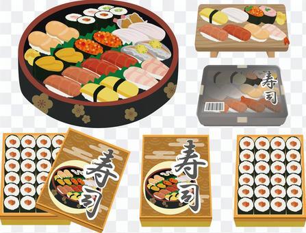 寿司桶の寿司と折詰、パック寿司セット