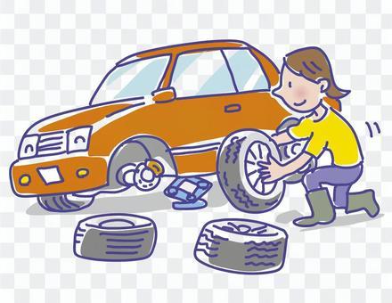 妇女换轮胎
