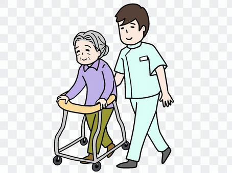 使用助行器的老年人和男護士(護理人員)