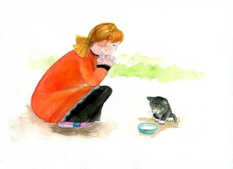 兒童貓女孩和被遺棄的貓