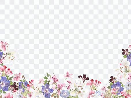 Flower frame - 137 - White lily and geranium flower frame