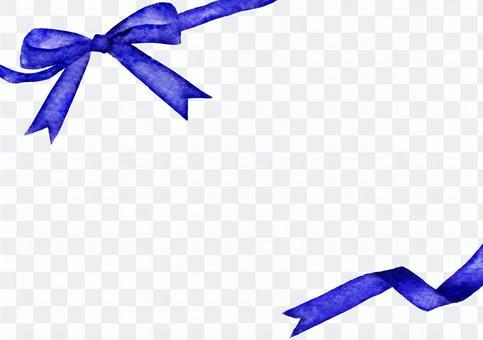藍絲帶框架·別緻的水彩畫