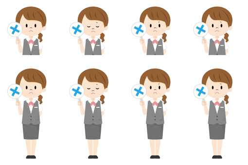 Female receptionist_X mark