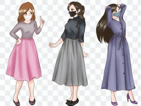 3種春季女士時裝(面膜)