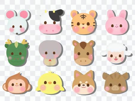 生肖十二生肖動物(臉)2