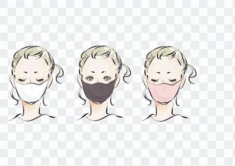 Fashionable illustration of a woman wearing a mask