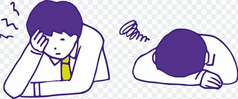 Depressed office worker set