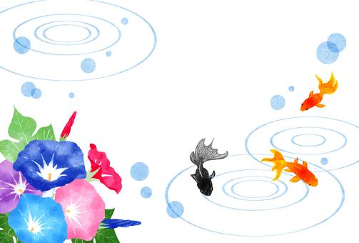 金魚、牽牛花和夏日問候明信片中的漣漪水平