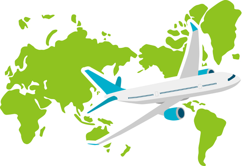 World map airplane