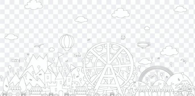 にぎやかな遊園地の塗り絵 線画