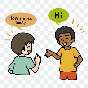 A boy who speaks English and greets a foreign child