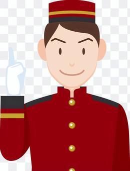 Hotel Man door boy finger pointing