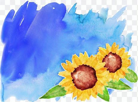 水藍藍的天空和向日葵的天空