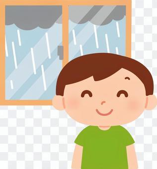Boy happy in the rain