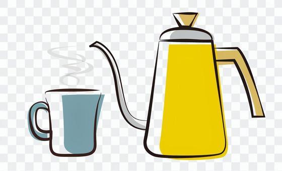 咖啡杯和水壺