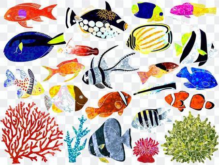 イラスト007 魚とサンゴ