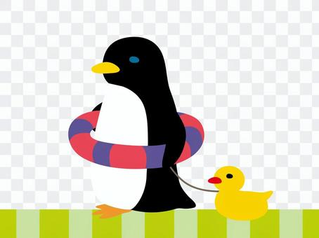 ペンギン水浴び