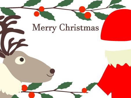 好朋友馴鹿和聖誕老人聖誕賀卡