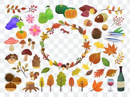 Hand-painted autumn illustration set