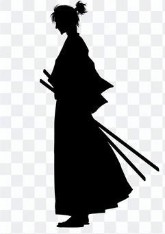 Samurai (profile by profile) silhouette