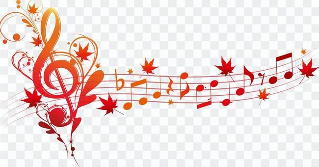 與toka標誌和秋天的落葉的音符