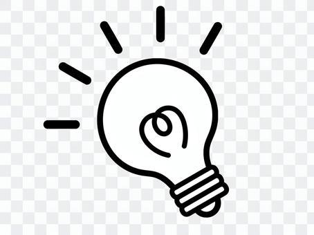 電球 電気 ひらめき モノクロ 斜め