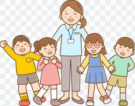老師和孩子用B線