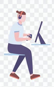 一個男人玩著耳機的遊戲