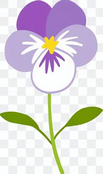 A cute hand-drawn purple pansy