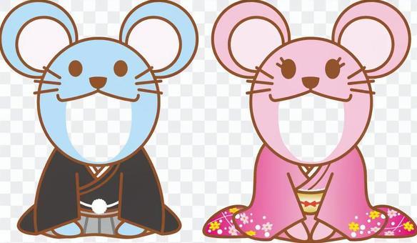 新年賀卡的老鼠臉穿著和服