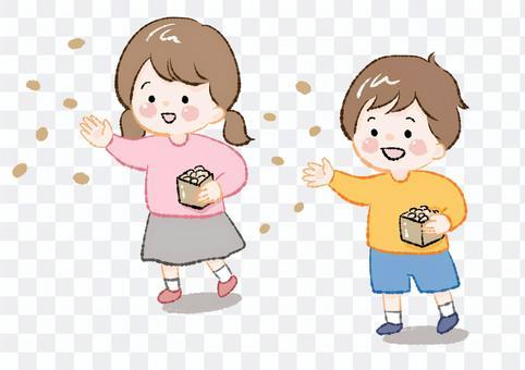豆まきをする子供