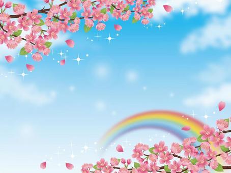 波光粼粼的天空和波光粼粼的風景與櫻花分行03