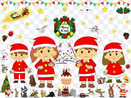 子供_クリスマス_セット_パーティー