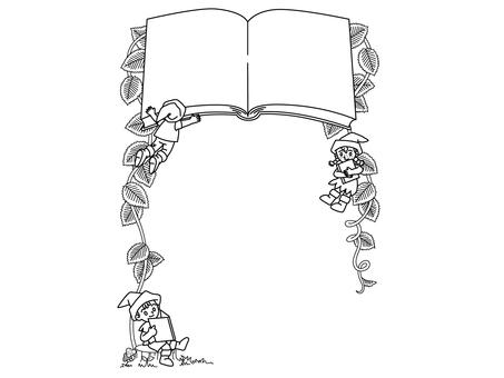 讀書矮人相框-單色線描-