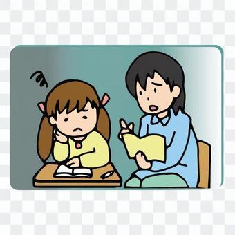 勉強が分からない子供に教える先生