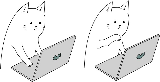 Cat playing a computer