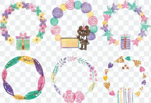 熊花水彩裝飾框架