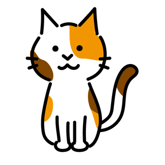 Icon-style illustration of a sitting calico cat