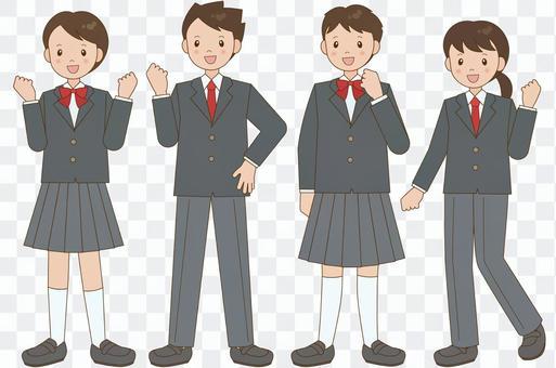 穿著無性別制服的學生男女