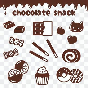 Chocolate confectionery icon set