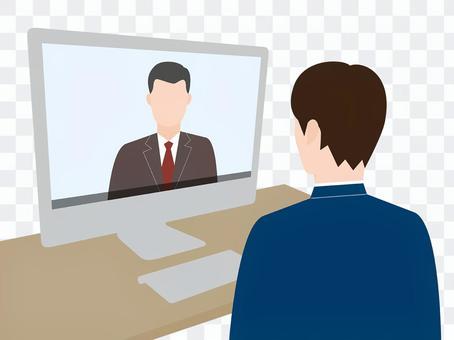 オンラインで会話する男性