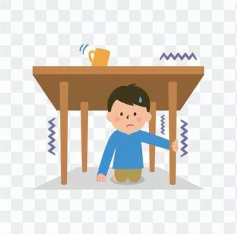 テーブルの下に避難