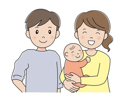 爸爸依偎著抱著嬰兒的媽媽