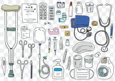 手寫線條藝術彩色插圖集醫療設備