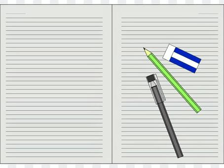 Cut writing instrument and note spread